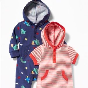 🐢 🐢 🦀 🦀 Baby Hooded One-Piece 2-Pack for Baby